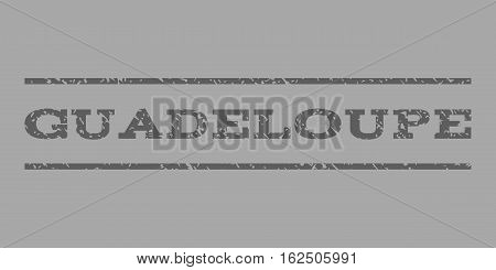 Guadeloupe watermark stamp. Text caption between horizontal parallel lines with grunge design style. Rubber seal stamp with dust texture. Vector dark gray color ink imprint on a silver background.
