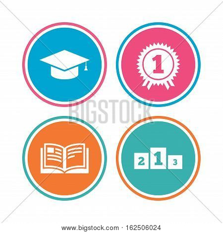 Graduation icons. Graduation student cap sign. Education book symbol. First place award. Winners podium. Colored circle buttons. Vector