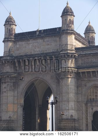 MUMBAI, INDIA - NOV 29; The Gateway of India in Mumbai, India, as seen on Nov 29, 2016. The structure is a basalt arch, 26 metres (85 feet) high.