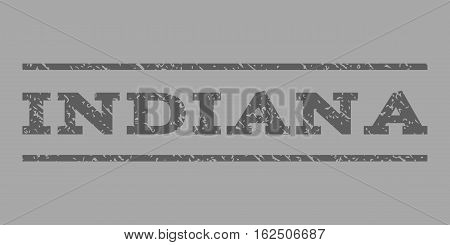 Indiana watermark stamp. Text tag between horizontal parallel lines with grunge design style. Rubber seal stamp with dust texture. Vector dark gray color ink imprint on a silver background.