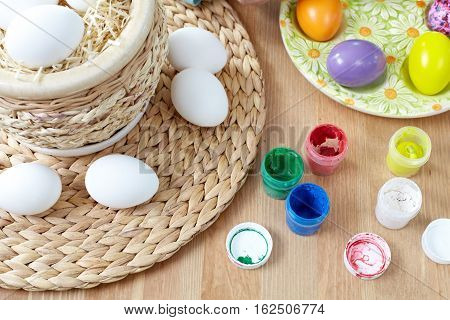Close-up of watercolors and Easer eggs in basket