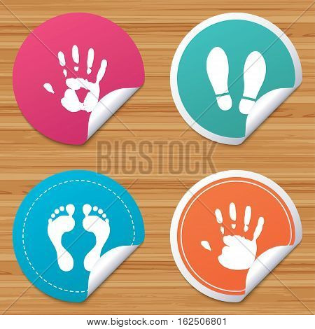 Round stickers or website banners. Hand and foot print icons. Imprint shoes and barefoot symbols. Stop do not enter sign. Circle badges with bended corner. Vector