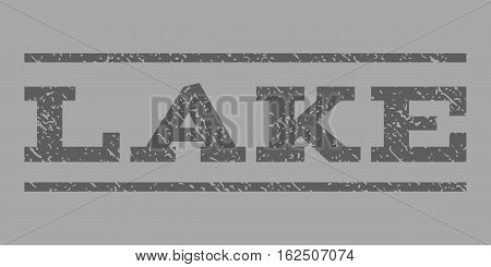 Lake watermark stamp. Text tag between horizontal parallel lines with grunge design style. Rubber seal stamp with dust texture. Vector dark gray color ink imprint on a silver background.