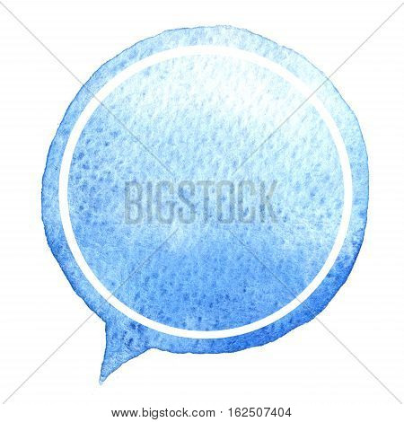 Speak Blue Bubble Watercolor. Design Element. Hand Drawn Speech.
