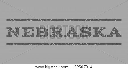 Nebraska watermark stamp. Text caption between horizontal parallel lines with grunge design style. Rubber seal stamp with scratched texture. Vector dark gray color ink imprint on a silver background.