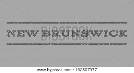 New Brunswick watermark stamp. Text tag between horizontal parallel lines with grunge design style. Rubber seal stamp with unclean texture. Vector dark gray color ink imprint on a silver background.
