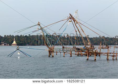 Chinese fishing nets in Kerala India 2014