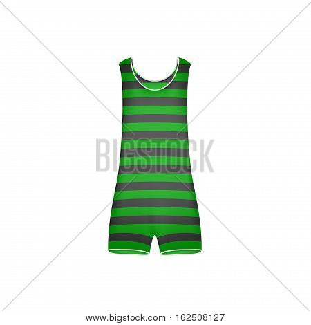 Striped retro swimsuit in green and black design on white background