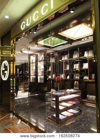 MUMBAI, INDIA - DEC 3: Gucci store at the High Street Phoenix Mall in Mumbai, India, as seen on Dec 3, 2016. The compound also hosts a five-star hotel, a multiplex, commercial space and a residential tower.