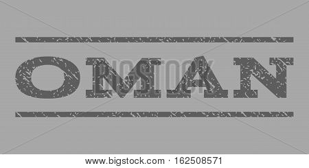 Oman watermark stamp. Text caption between horizontal parallel lines with grunge design style. Rubber seal stamp with scratched texture. Vector dark gray color ink imprint on a silver background.