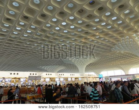 MUMBAI, INDIA - DEC 4: Check in counters at Chhatrapati Shivaji International Airport in Mumbai, India, as seen on Dec 4, 2016. It is the second busiest airport in the country in terms of passenger traffic and international traffic after Delhi.