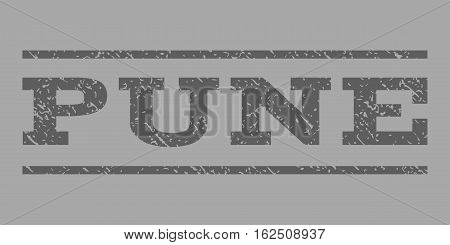 Pune watermark stamp. Text caption between horizontal parallel lines with grunge design style. Rubber seal stamp with dust texture. Vector dark gray color ink imprint on a silver background.