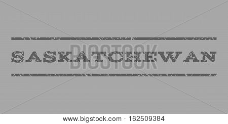 Saskatchewan watermark stamp. Text caption between horizontal parallel lines with grunge design style. Rubber seal stamp with dirty texture. Vector dark gray color ink imprint on a silver background.
