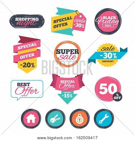 Sale stickers, online shopping. Home key icon. Wrench service tool symbol. Locker sign. Main page web navigation. Website badges. Black friday. Vector