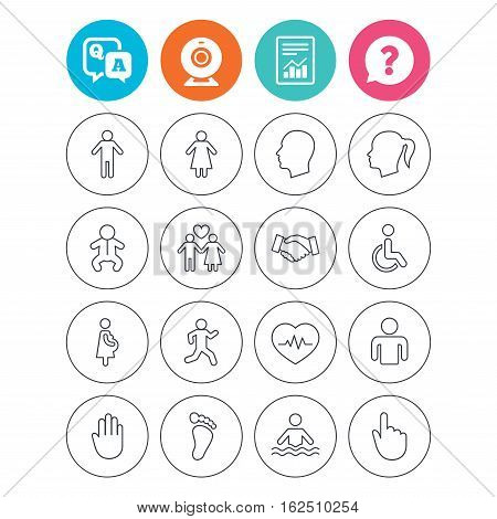 Human icons. Male and female symbols. Infant toddler and pregnant woman. Wheelchair for disabled. Success deal handshake. Report document, question and answer icons. Web camera sign. Vector