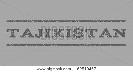 Tajikistan watermark stamp. Text tag between horizontal parallel lines with grunge design style. Rubber seal stamp with dust texture. Vector dark gray color ink imprint on a silver background.