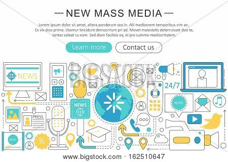 Vector modern line flat design News mass media concept. News mass media icons Website Header, app design poster banner