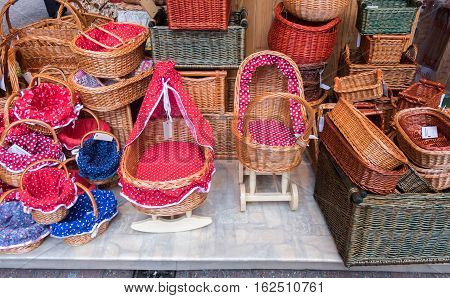 Handmade Colorful  Wicker Baskets And Cradle For Sale At Christmas Tradition Market. Budapest, Hunga
