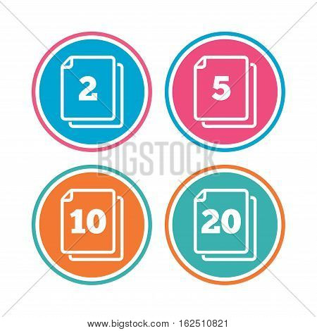 In pack sheets icons. Quantity per package symbols. 2, 5, 10 and 20 paper units in the pack signs. Colored circle buttons. Vector