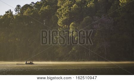 romantic travel, bamboo rafting on river at Pang Oung District Animal Area, Mae Hong Son (Thailand)