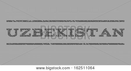 Uzbekistan watermark stamp. Text caption between horizontal parallel lines with grunge design style. Rubber seal stamp with dirty texture. Vector dark gray color ink imprint on a silver background.
