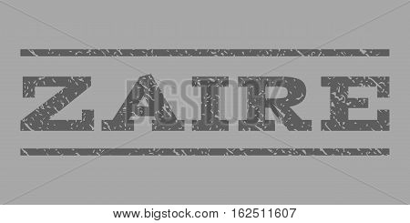 Zaire watermark stamp. Text caption between horizontal parallel lines with grunge design style. Rubber seal stamp with scratched texture. Vector dark gray color ink imprint on a silver background.