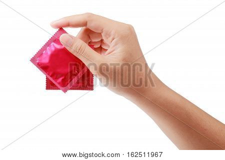 woman hand with condom isolated on white safe sex concept clipping path.