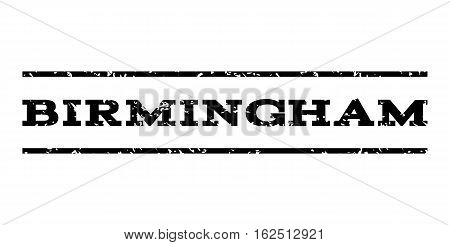 Birmingham watermark stamp. Text caption between horizontal parallel lines with grunge design style. Rubber seal stamp with dust texture. Vector black color ink imprint on a white background.
