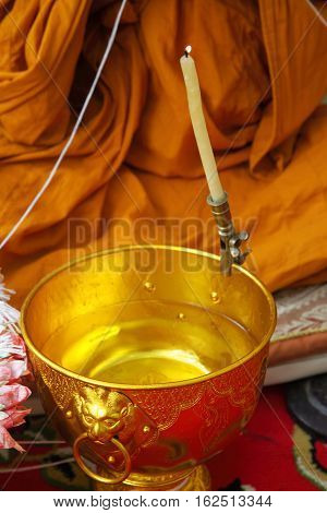 pray the monks and religious rituals in thai Buddhist ceremony.