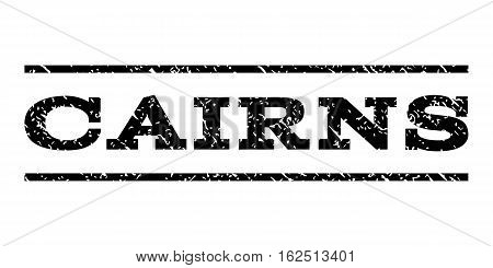Cairns watermark stamp. Text caption between horizontal parallel lines with grunge design style. Rubber seal stamp with dirty texture. Vector black color ink imprint on a white background.