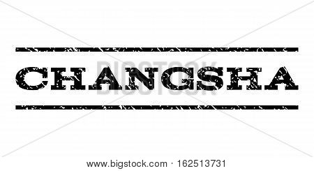 Changsha watermark stamp. Text tag between horizontal parallel lines with grunge design style. Rubber seal stamp with scratched texture. Vector black color ink imprint on a white background.