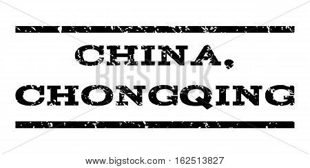 China, Chongqing watermark stamp. Text tag between horizontal parallel lines with grunge design style. Rubber seal stamp with scratched texture. Vector black color ink imprint on a white background.