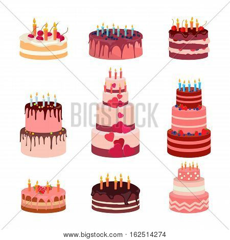 Illustration of sweet baked isolated cakes set. Strawberry icing cake for holiday, cupcake, baked brown chocolate cake for gourmet, colorful birthday celebration cherry cake bakery with . Birthday cake with candles and fruits on white background. Vector