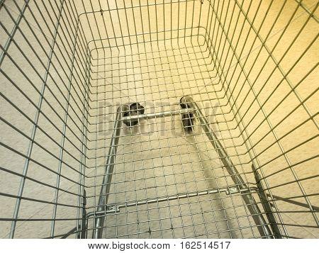 Retro Effect Top View Empty super market shopping cart