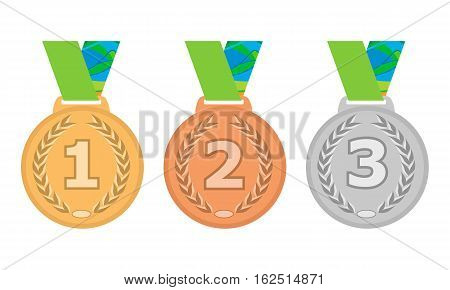 Gold, Silver and Bronze medal icon set. Vector isolated medals on white background
