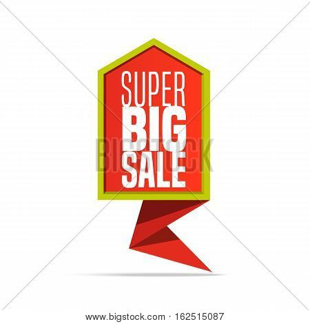 Super Big Sale shining colorful banner on white background. Geometric design label. Super sale tag and special offer. Vector illustration advertising coupon for off sign.