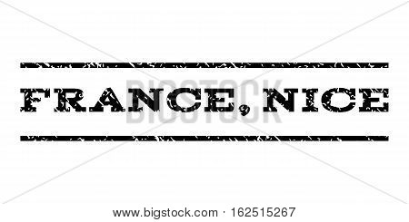 France, Nice watermark stamp. Text tag between horizontal parallel lines with grunge design style. Rubber seal stamp with dust texture. Vector black color ink imprint on a white background.