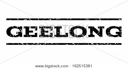 Geelong watermark stamp. Text caption between horizontal parallel lines with grunge design style. Rubber seal stamp with dirty texture. Vector black color ink imprint on a white background.