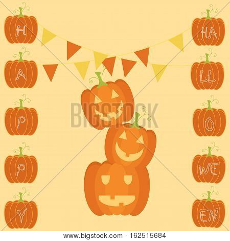 a greeting card for halloween with a pile of jack o lantern and the flags above