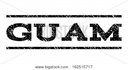 Guam watermark stamp. Text caption between horizontal parallel lines with grunge design style. Rubber seal stamp with dirty texture. Vector black color ink imprint on a white background.