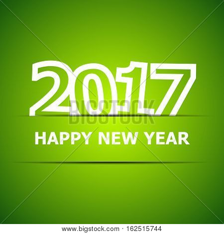 2017 Happy New Year on green background, stock vector
