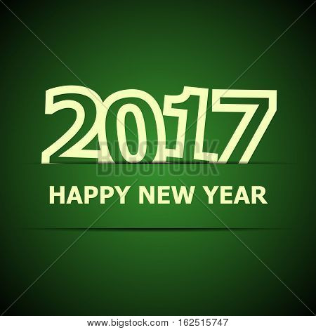 2017 Happy New Year on dark green background, stock vector