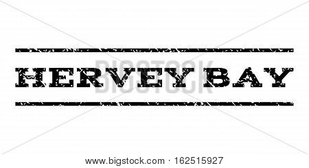 Hervey Bay watermark stamp. Text caption between horizontal parallel lines with grunge design style. Rubber seal stamp with dust texture. Vector black color ink imprint on a white background.