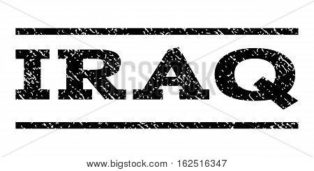 Iraq watermark stamp. Text caption between horizontal parallel lines with grunge design style. Rubber seal stamp with scratched texture. Vector black color ink imprint on a white background.