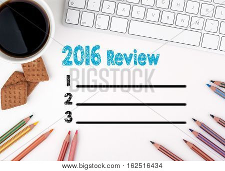 2016 Review list, Business concept. White office desk.
