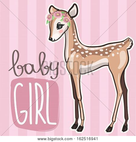 Little baby deer vector illustration. Cute pink card with little fawn girl