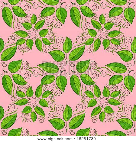 Green leaves seamless pattern. Raster illustration. Tender pink background