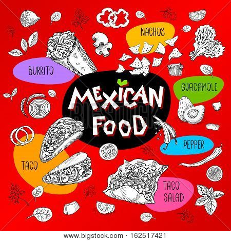 Set of stickers in sketch style, food and spices, old paper textured background. Fast food Mexican food. Taco, burrito, ingredients, mushrooms, guacamole, tomato, pepper, onion, salad