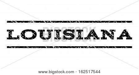 Louisiana watermark stamp. Text caption between horizontal parallel lines with grunge design style. Rubber seal stamp with dust texture. Vector black color ink imprint on a white background.