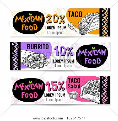 Set of stickers in sketch style, food and spices, old paper textured background. Fast food Mexican food. Banners, Taco, burrito, ingredients, mushrooms, tomato, pepper, onion, salad